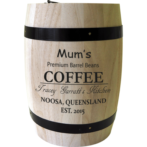 Personalised 'Premium barrel beans' Coffee Barrel