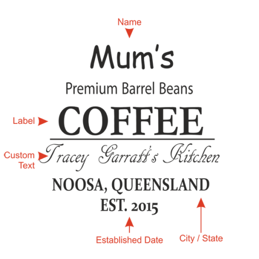 'Premium barrel beans' coffee barrel design